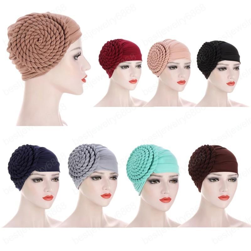 Hindistan Müslüman Kadınlar Hicap Şapka Kanser Kemoterapi Cap Örgü Turban Başörtüsü İslam'ın Başkanı Wrap Lady Beanie Bonnet Saç Dökülmesine Kapak Moda