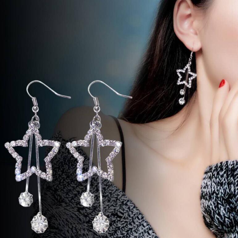 Kadınlar Düğün Hediye Ücretsiz Nakliye için Basit Yeni Tasarım Yıldız Rhinestone Kristal Gümüş saplama Küpe Piercing Pentagram küpe