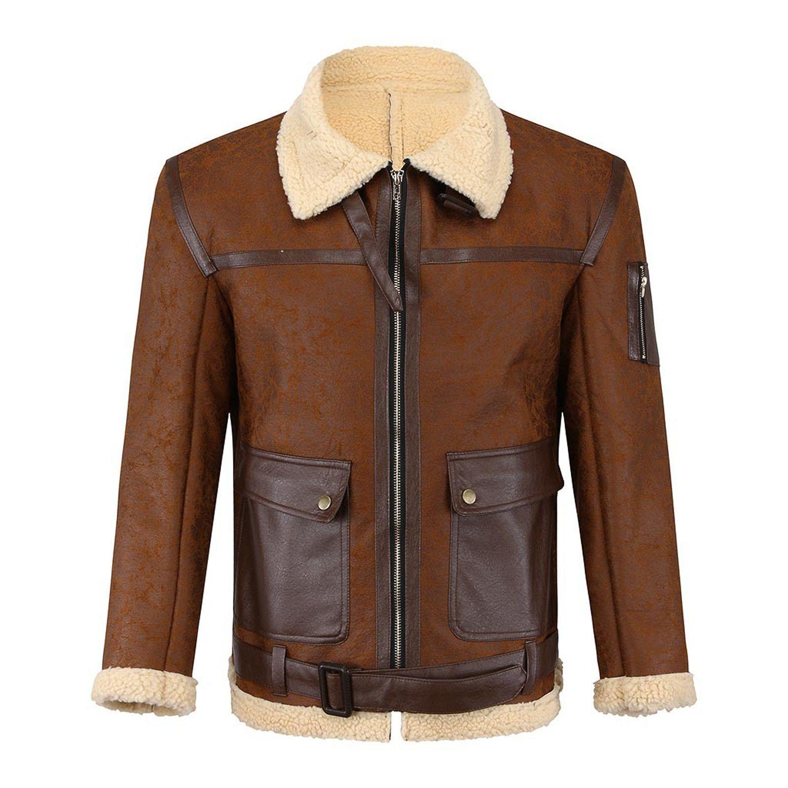 Coluré à manches longues occasionnel pour hommes Veste en cuir chaleureux et coupe-vent Hommes Collier Collier Collier Collier Coche de poche # G30