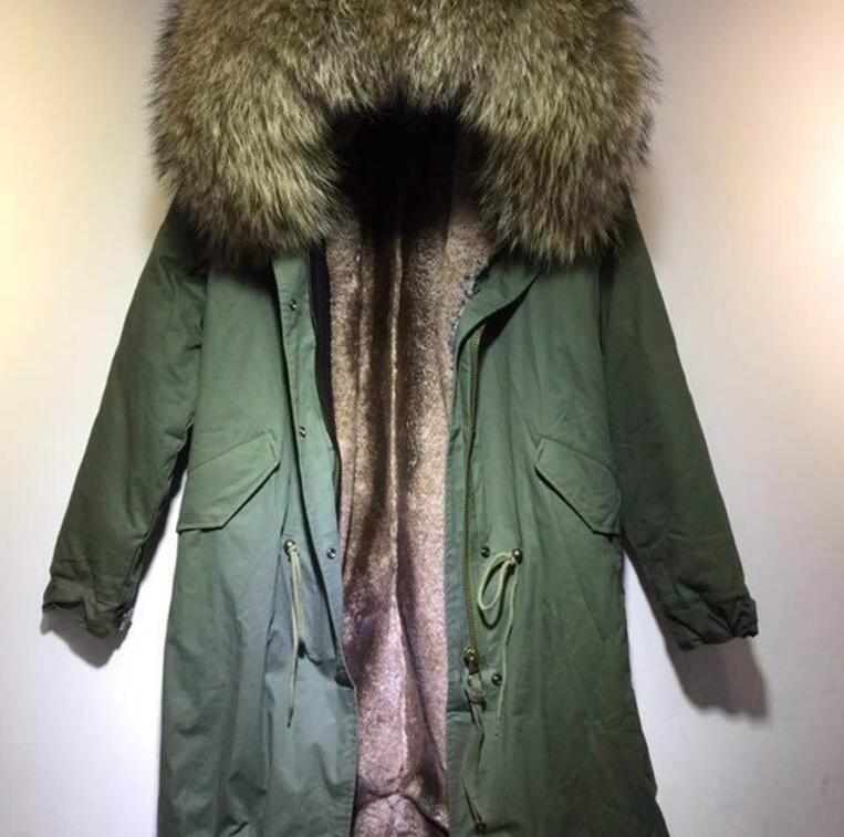 Высокого качество коричневого енота меховой оторочка капюшон мужчины вниз пальто Мукл мех бренд коричневого цветов хаки шерсти кролик лайнера длинных мужских армейские парок