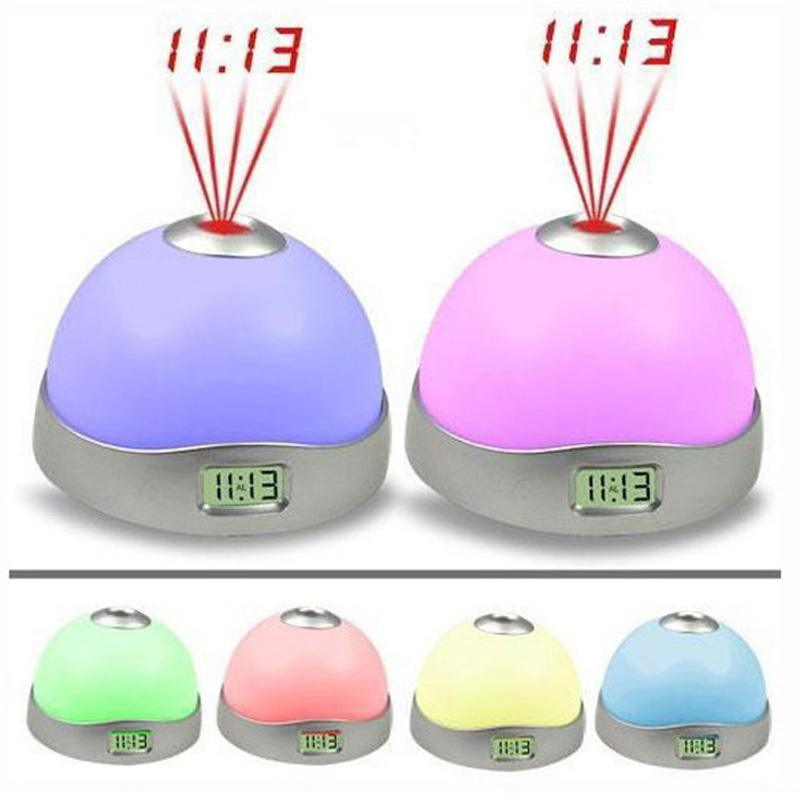 7 Colors Starry Digital Clock Magic Led Projection Alarm Clock Night Light Color Changing Home Decor Alarm Clocks Gift For Kids Q0090