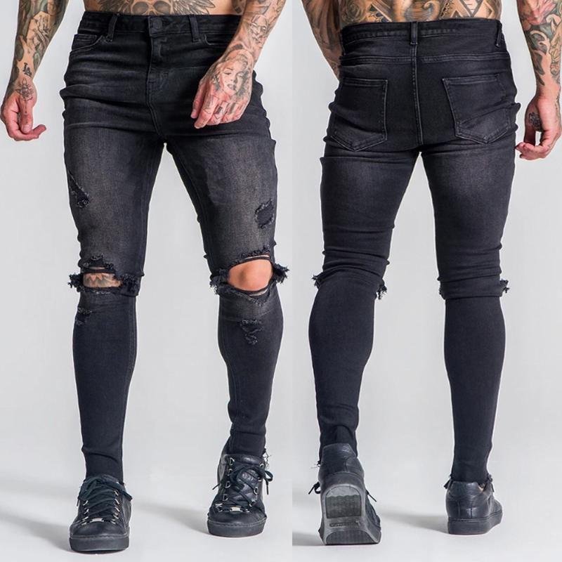 Мужские джинсы моды мужские молния высокая талия стрейч джинсовая разорванная дыра старинные случайные хип-хоп брюки тонкие худые брюки большого размера # 35
