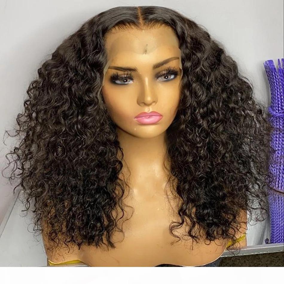 Kinky Kıvırcık Malezya İnsan Saç Dantel Ön Peruk Kadınlar Için Tam Dantel 180 Yoğunluk Remy Saç Önceden Klumped Saç Çizgisi Peruk 360 Dantel Frontal Peruk