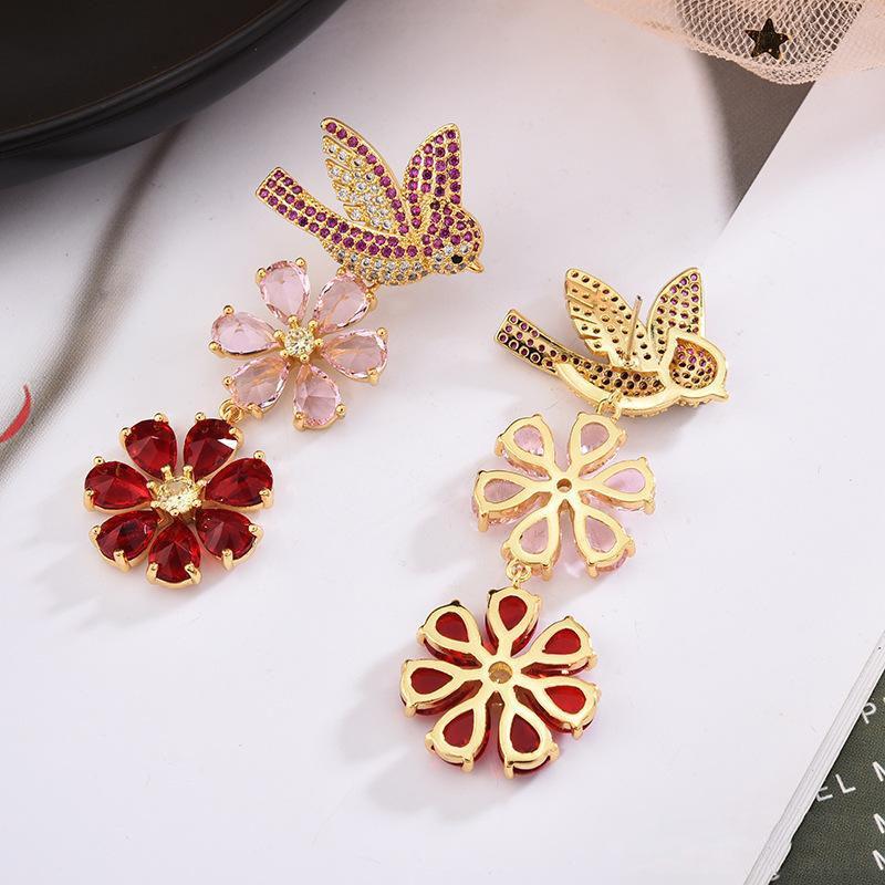 Hot Sale 925 Silver Wedding Jewelery 2020 New Fashion Brand Jewellery Long Flower Bird Earrings Women Designer Chandelier Earings