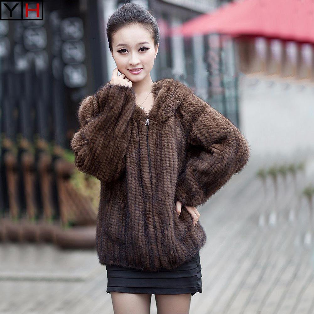 vison tricoté hiver femmes élégantes fourrure véritable veste dame 100% manteau de vison naturel et fille capuche outerwearX1019 fourrure de mode