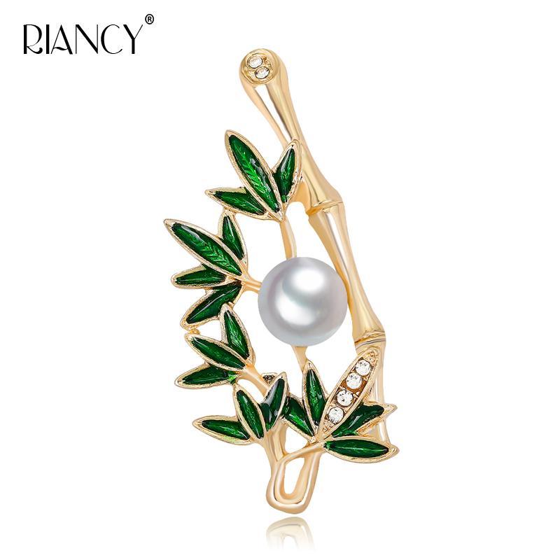 Мода бамбук форма Натуральный жемчуг пресноводных brooch9-10mm жемчужина Брошь Pin для женщин оптовой