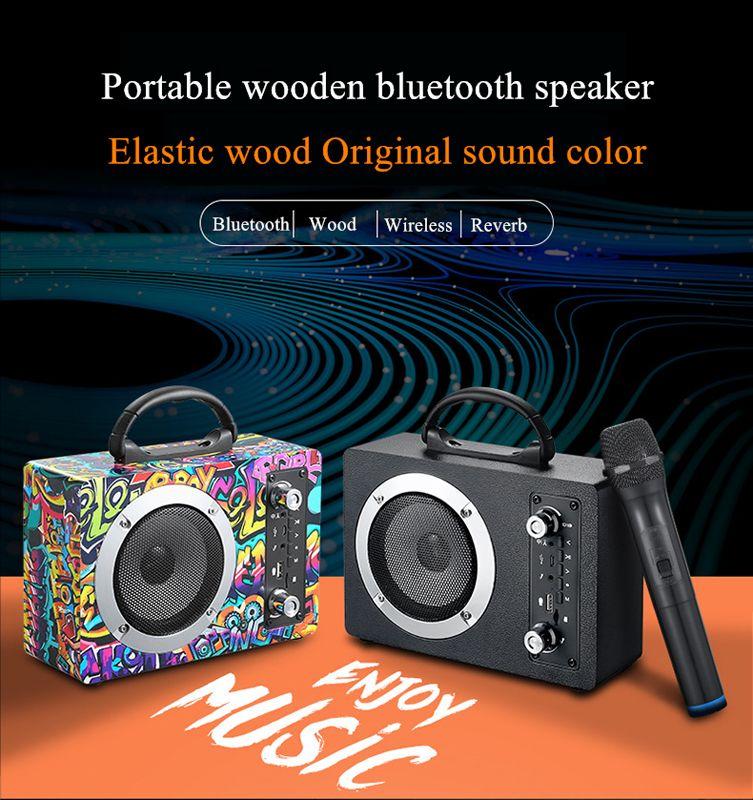 20 W de madeira Bluetooth sem fio subwoofer portátil sem fio k sem fio k cartão de música u disco rádio áudio com microfone