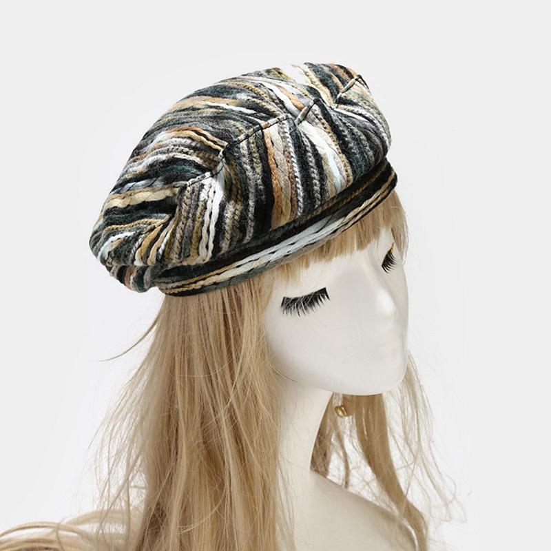 القبعات 202101-SAMEPU-BLM84 الربيع البوهيمي نمط مختلط اللون الأزياء قبعة البيريه الرجال النساء الترفيه الرسام