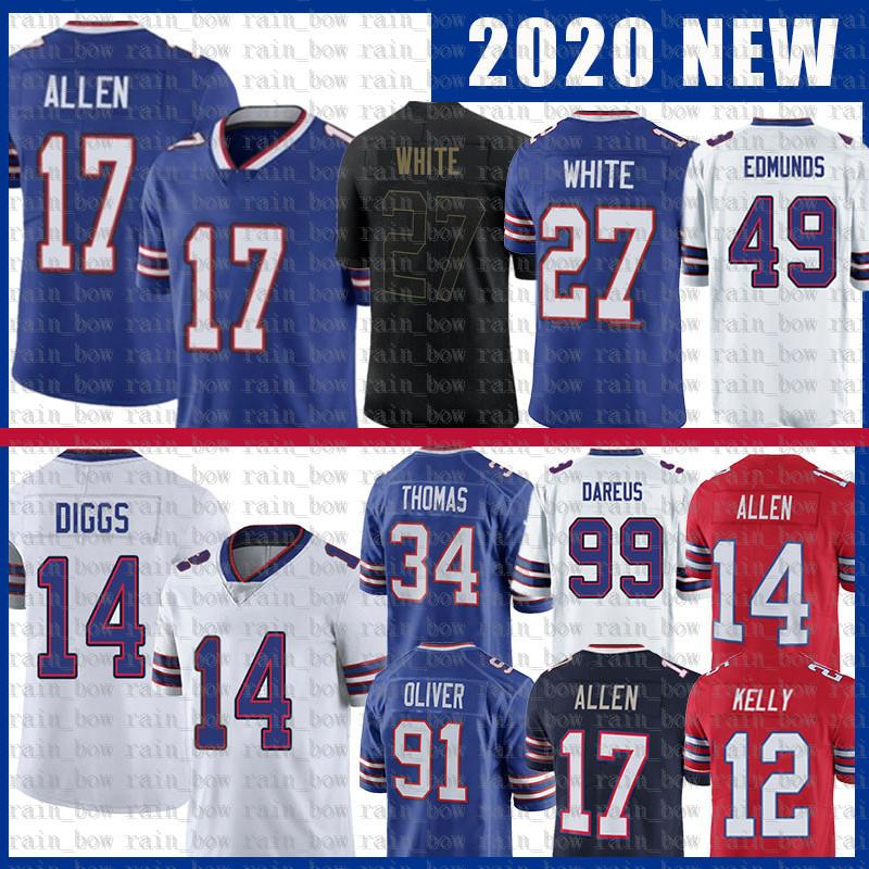 17 Джош Аллен 14 Stefon Diggs 49 Edmunds Tremaine Edmunds Football Jersey 34 Thurman Thomas 12 Jim Kelly Tre'Wious White 91 Oliver Zack Moss