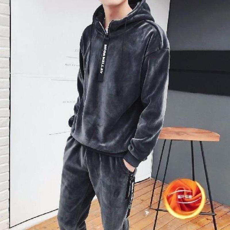 Новая осень мужчины одежда и зима 2020 Корейский моды двухсторонний флис с капюшоном мужской свитер утолщена спортивный двухсекционный костюм Q1110