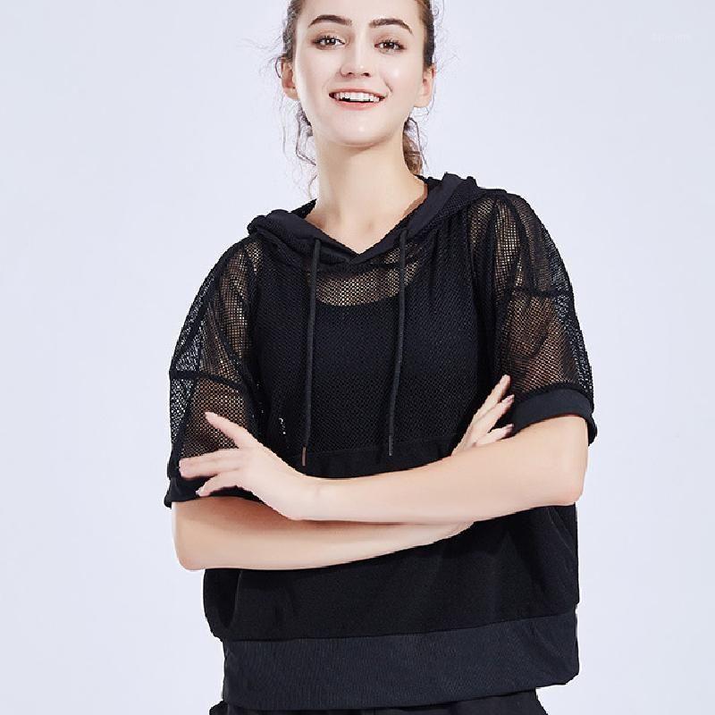 Женщины, выпадающие спортивные футболки Top женщин сексуальные прозрачные вершины дамы мода с длинным рукавом свободные спортивные футболки1