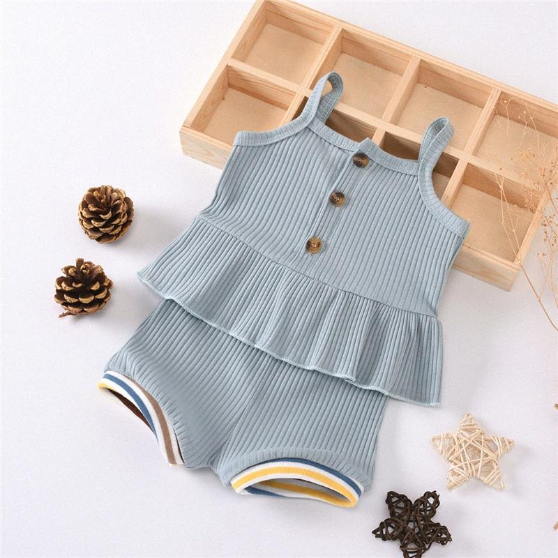 2020 2020 Летние ребёнки Одежда для малышей Мальчики Девочки Casaul Хлопок Кнопка Жилет Топы + кулиской Шорты младенца Одежда Outfit наборы gm4W #