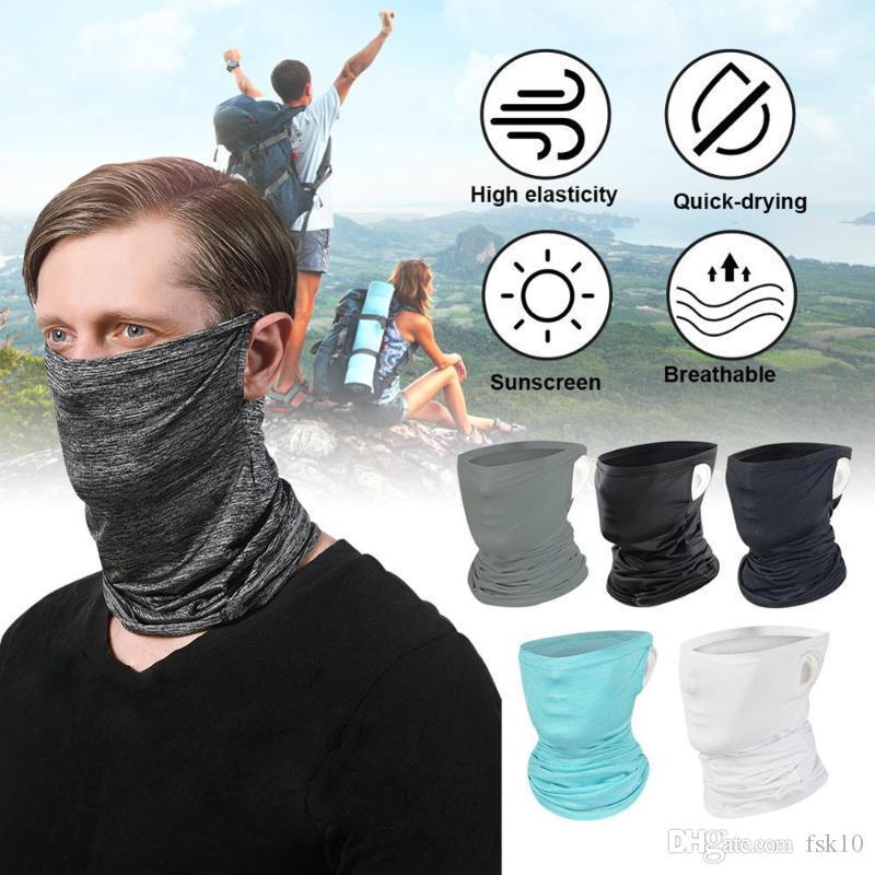 2020 Fashion Face Mask Ice Шелковый шарф уха Loops шеи Gaiter Защита от ультрафиолетовых лучей Пыле-маска бандана Велоспорт лица