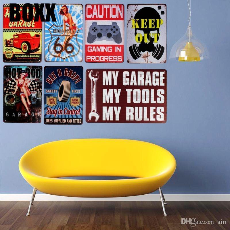 Hot Rod Garagem Placas de lata Ferramenta Regras Motor Oil placa de metal Garagem parede Bar Início Art Decor Vintage Poster Cuadros Ferro