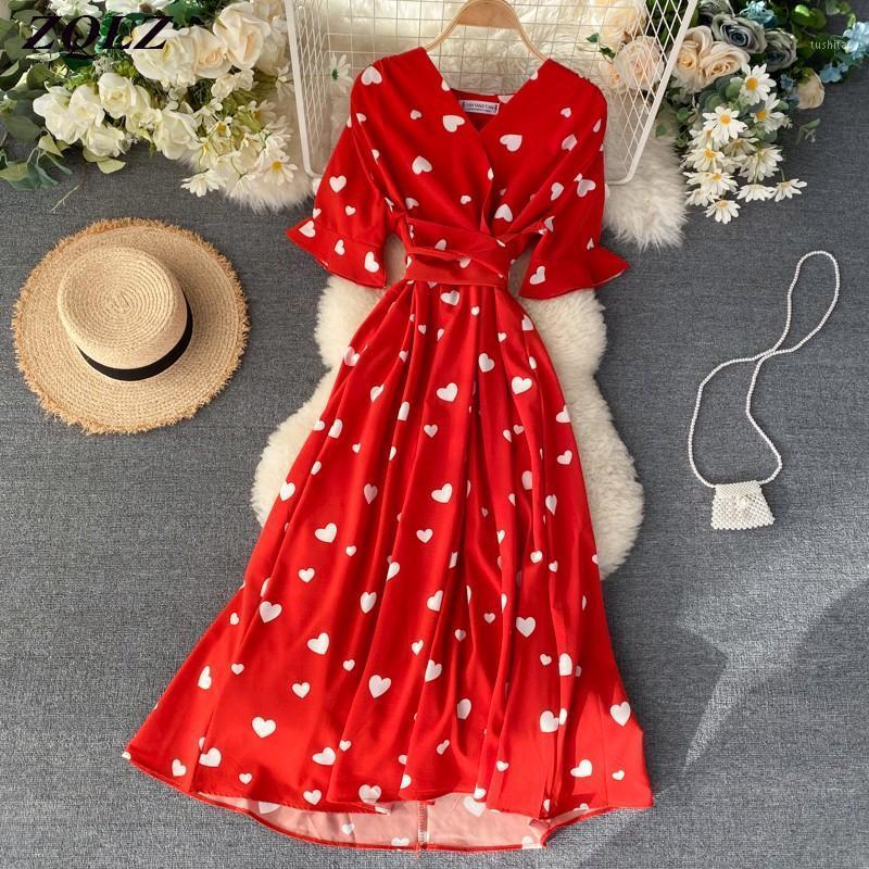 ZQLZ Yaz Parti Elbise Kadınlar 2020 Yeni V Yaka Kısa Kollu Parti Vestidos Mujer Rahat Plaj Maxi Baskı Pamuk Elbiseler Bayan1