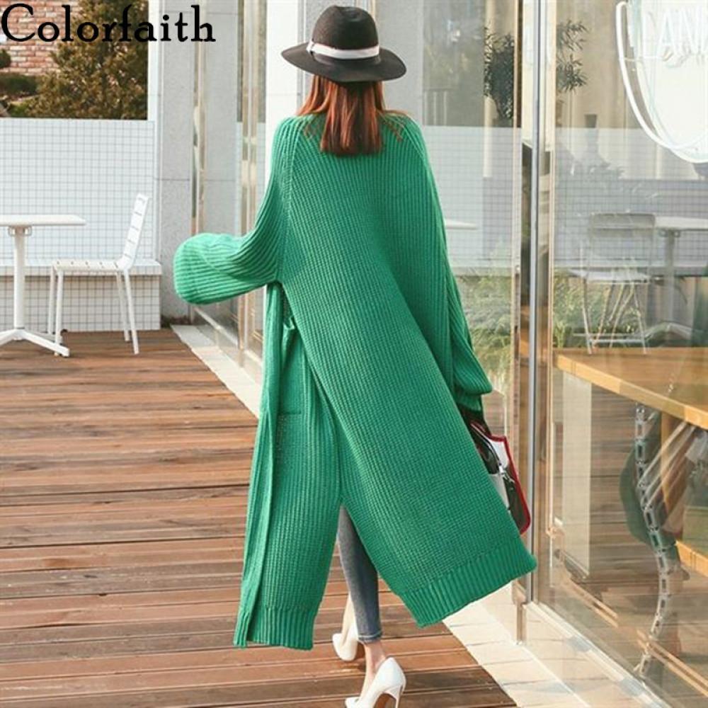 Colorfaith neue Herbst-Winter-Frauen Pullover koreanische Art Minimalist Fest multi Farben-beiläufige lange Cardigans SW8528 201012