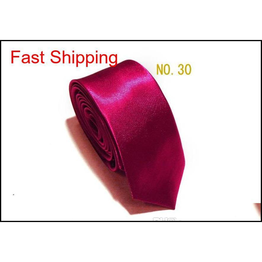 Ücretsiz kargo 35 renkler klasik öğrenciler erkek skinny 5 cm düz renk düz saten kravat kravat töreni boyun bağları qylbue homes2007