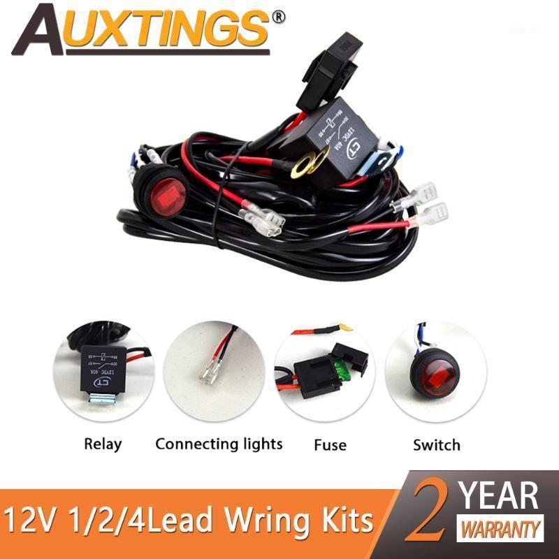 AUXTING CARD LED Light Bar Fio 1 ~ 4Lead 3M 12V fiação de chicote de chicote de chicote de cabo de cabo de cabo Fusível de condução automática Lâmpada de trabalho LED1