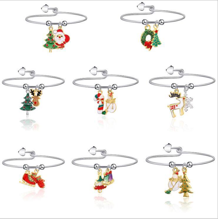عيد الميلاد 8 أنماط للاطفال مجوهرات لاكي سوار عيد ميلاد سعيد دير شجرة ندفة الثلج سوار مجوهرات أطفال هدية