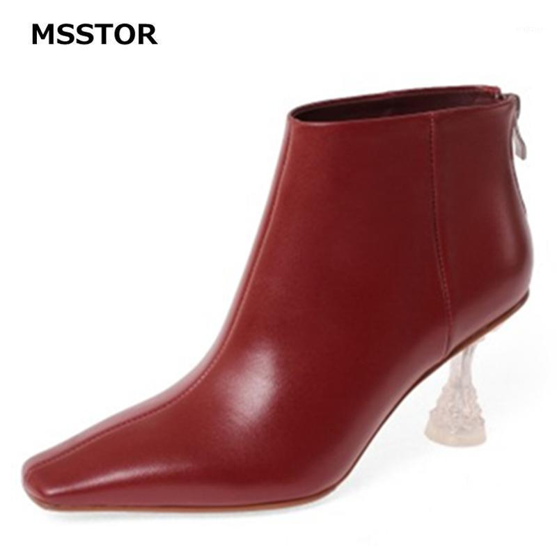 Transparent Red Boots Zipper Sewing Solid Casual Elegant Party Leather Boots Women Square Toe Winter Ankle Women Rubber1