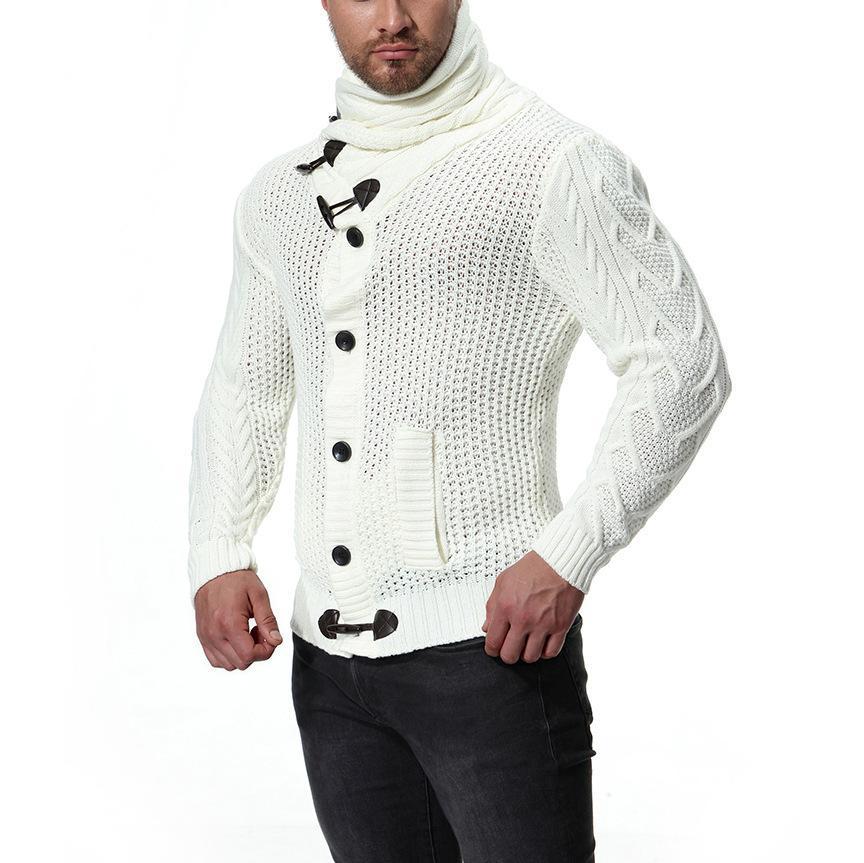 Brasão de Moda de Nova Grosso Camisolas Cardigan Men Slim Fit Jumpers Knit Zipper Quente Inverno Negócios Estilo Vestuário 201110