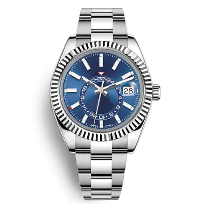 Mens Automatic Mechanical 42mm Blue Watch Black Acciaio Inox Sky-Dweller Full Funzione Piccola Quadrante Dial Data Calendario Orologio da polso da lavoro
