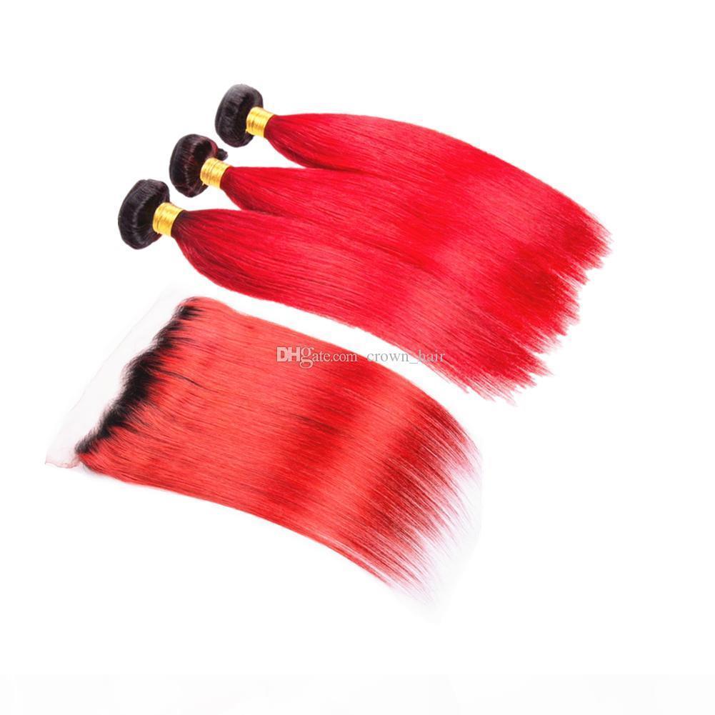 أومبير اللون # 1B الأحمر الأذن إلى الأذن أمامي مع حريري مستقيم جذور 3Bundles الأحمر الداكن العذراء الإنسان الشعر الحياكة مع أمامي 13x4