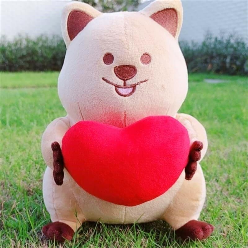Super süßes Ins Heiß Quokka Plüschtier Rot Herz Valentinstag Express Geschenk Spielzeug für Mädchen Kleine Schwanz Gefüllte Känguru Spielzeug Für Kinder 201214