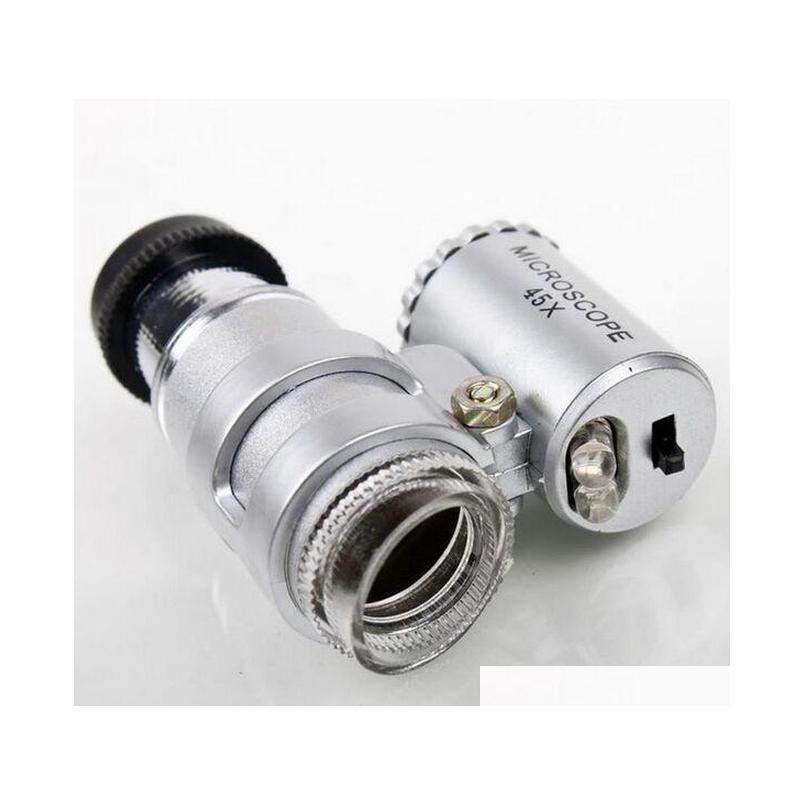 Регулируемый портативный 45x мини-микроскоп с 2 светодиодным миниатюром Mini лупа с Bankn Qylvwu Hotstore2010