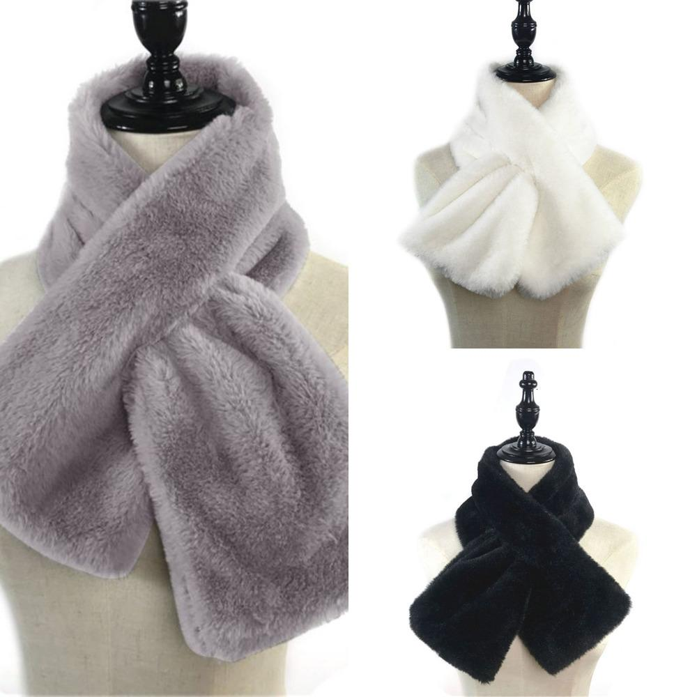15x90cm Women Winter Thicken Plush Faux Rabbit Fur Scarf Solid Candy Color Collar Shawl Neck Warmer Shrugs Knitted Neckerchief FJ8X