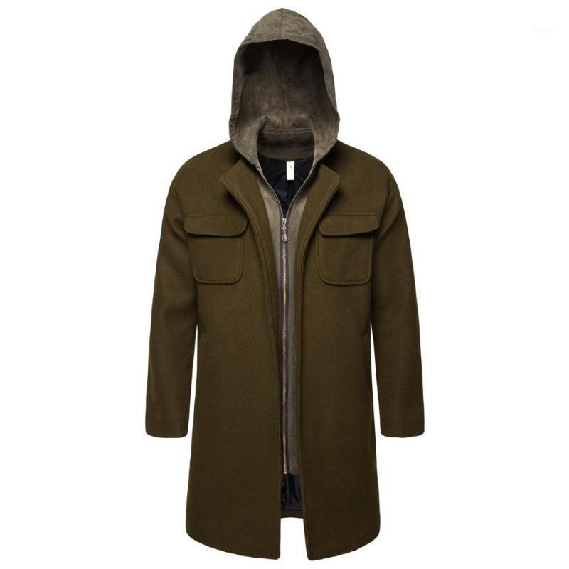 Мужская шерстяная смесь 2021 осенью и зимние мужские повседневные бизнес шерстяные пальто длинного пальто мужская куртка высочайшее качество1