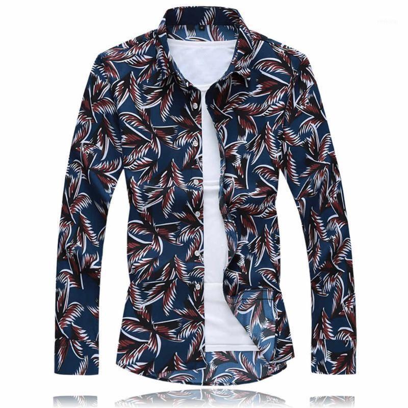 2020 Men's Shirts Plus Size Autumn Blouse Long-Sleeve Loose Business Leisure Print Shirt For Male Top Casual Beach Men Tops 7.251