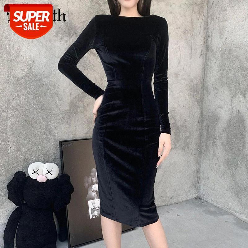 Insgoth Estetik Seksi Backless Siyah Elbise Goth Vintage Kadife Yüksek Bel Midi Elbise Kadın Bodycon Mesh Bandaj Parti Elbiseler # Z83G