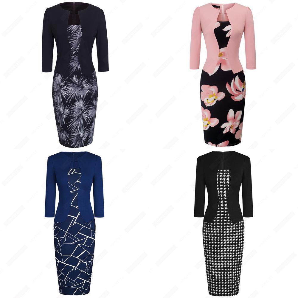 Mujeres otoño elegante de una pieza negocio formal floral impreso vintage plus size dama trabajo oficina bodycon lápiz vestido EB237 J1215