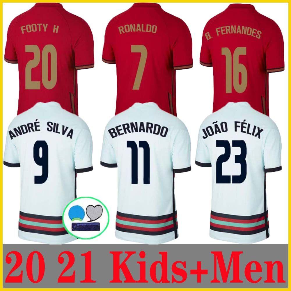 20 21 Ronaldo Futebol Jerseys National Team Joao Felix 2020 2021 Bernardo Portugal B.fernandes Camisa de Futebol Homens Kit Kit Football Shirts