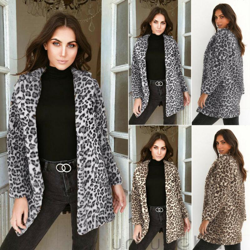 2020 Fashion Womens Leopard Print Plush Coat Winter Leopard Fluffy Fleece Jacket Coat Cardigans Jumper Tops
