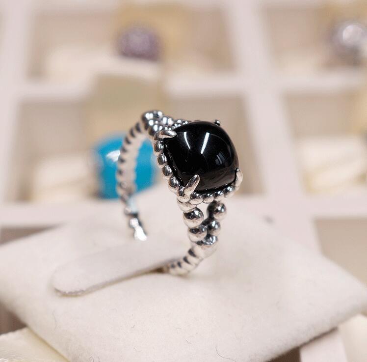 2018 Sommer 925 Sterling Silber Ring Obsidian Ring Original Mode DIY Charms Schmuck Für Frauen machen