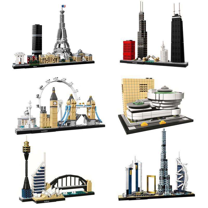 Architecture Paris Dubaï Londres Sydney Chicago Bricks Building Blocks Kit Shanghai classique Ville Modèle Kid jouets pour les enfants cadeau 1008
