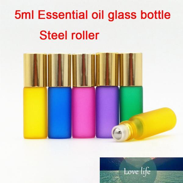 50 adet 5 ml Beş Renkler Temel Yağ Cam Şişe Çelik Rulo, Kozmetik Örnek Konteyner, Parfüm Ambalajı]