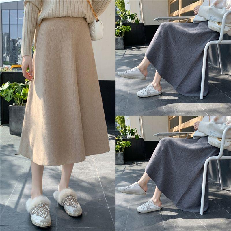 A456K Beiyingni Autumn Winter Crotch Cover Skirts Skirt belt maxi skirt Solid Elegant Knitting Skirt Vintage Split Casyal High Office