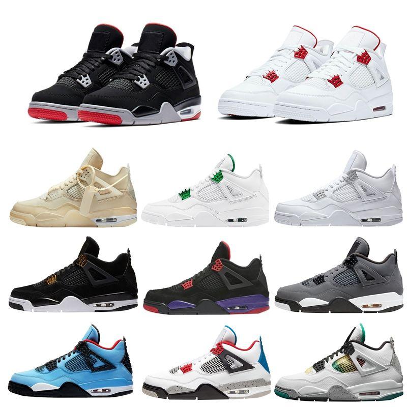 4S أبيض الشراع SE NEON 2020 أسود القط jumpman 4 أحذية كرة السلة المعدنية الأخضر المدربين ترافيس سكوتس الأرجواني الرجال الرياضة أحذية رياضية