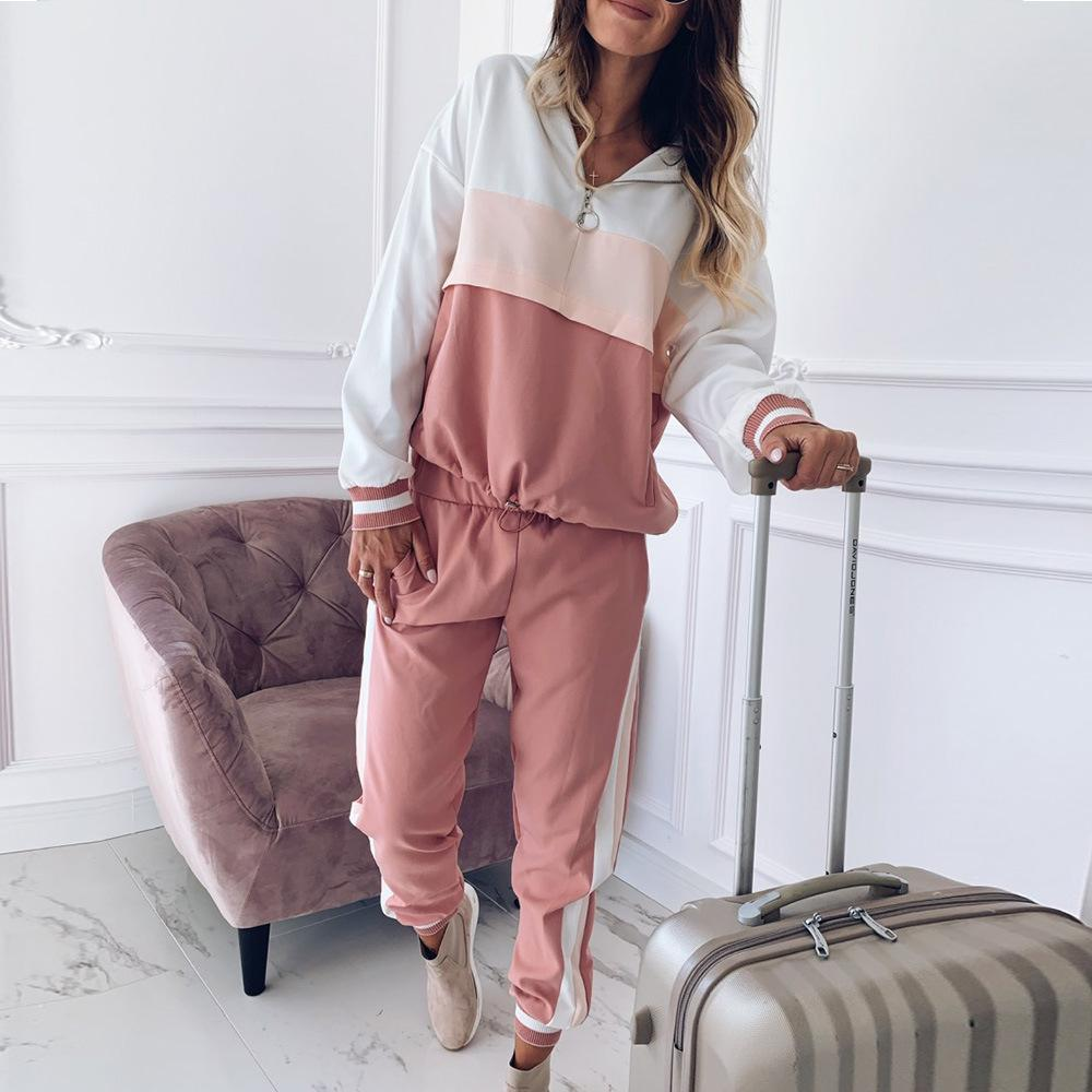2pcs Sport da donna Sport Causal Set con cappuccio Colorblock Fashion Felpe con cappuccio Felpa + Sweatpants 2 pezzi Autunno Casual Suit sportivo