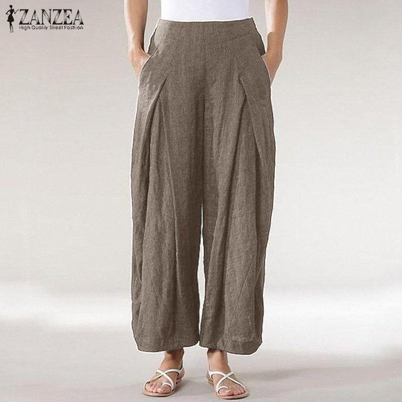 ZANZEA 2020 nuevas mujeres forman a pantalones de cintura alta pierna ancha pantalones casuales pantalones flojos sólidos plisadas señoras Pantalones Streetwear Y200418 z7Qf #