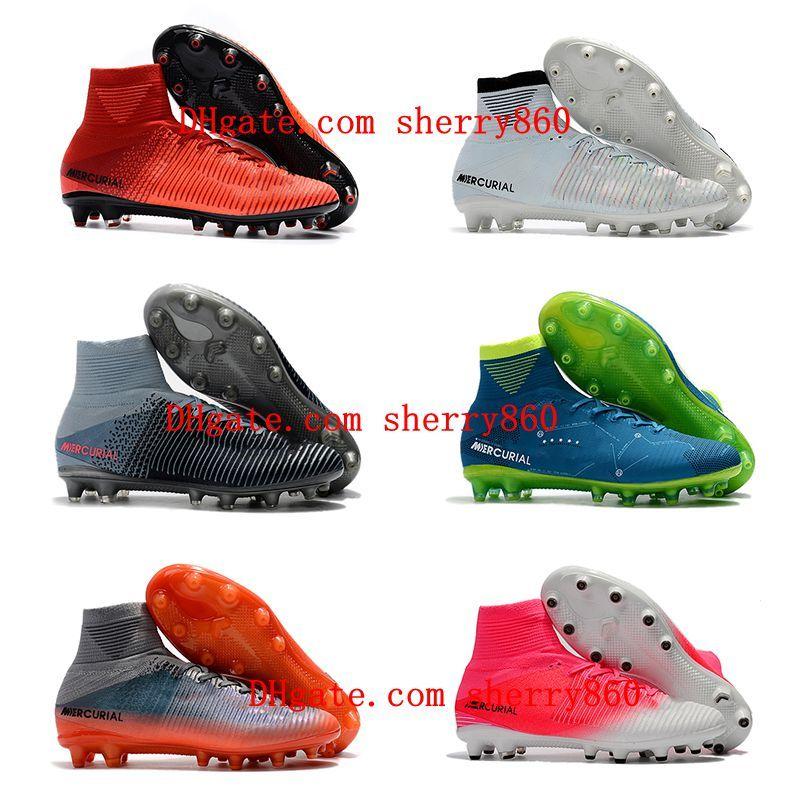 2020 de alta qualidade mens sapatos de futebol grampos do futebol botas de futebol ao ar livre Mercurial Superfly V AG CR7 neymar ronaldo scarpe calcio