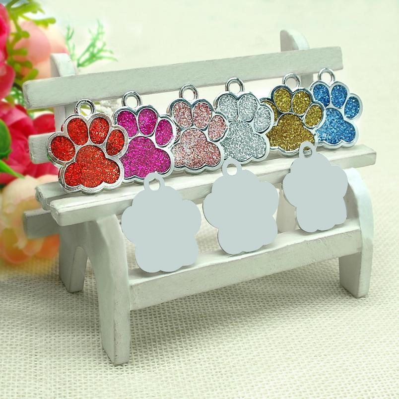 Wholesale 60pcs/lot Glitter Paw Pet Id Tags Stainless Steel Personalized Puppy Cat Id Tag For Small Dogs And Cats wmtPPN