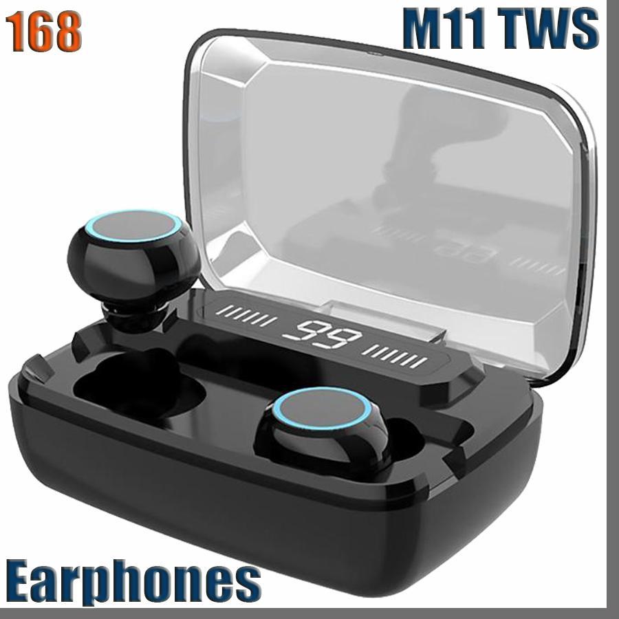 168D 원래 무선 헤드폰 M11 TWS 블루투스 5.0 이어폰 이어폰 소음 감소 HIFI IPX7 스포츠 방수 헤드셋