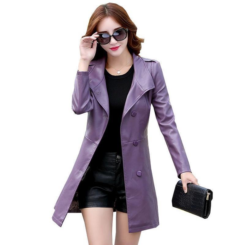 Faux Leather Jackets donne più dimensioni in stile coreano del rivestimento di cuoio Slim-Fit di rivestimento delle donne Locomotiva nuova delle donne di autunno