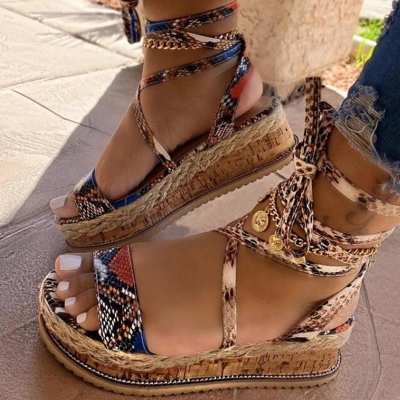 Women wedge Summer Snake Ethnic Print Fashion Casual Lace Up woman Beach Plus Size shoes Sandals Y200702