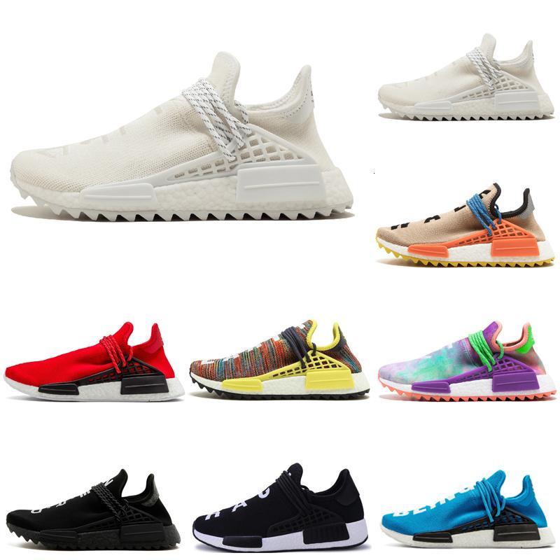 Горячая распродажа человеческие гонки Holi бледно обнаженные сливки мужчины наружные туфли Pharrell yellow черный белый красный синий мужские женщины спортивные туфли кроссовки 36-47