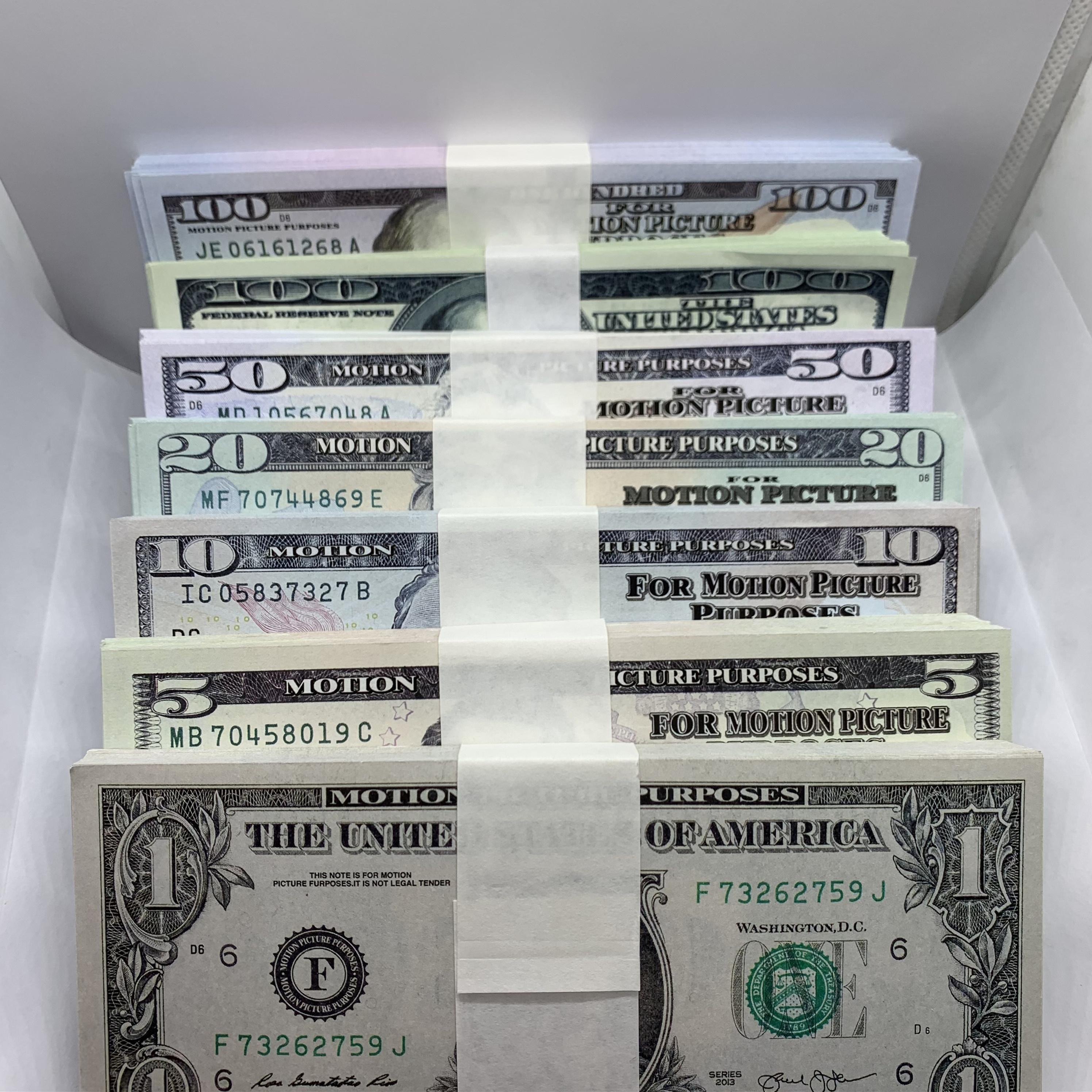 Film Money Money Dollar 1 5 10 TV Bar 100 Fake Money Shooting Billet Atmosphère Props Boulet Prop La-021 et 20 50 Faux contrefaites OJW JGIL